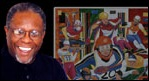 Steve R. Allen next to some of his artwork