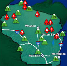 Wisconsin   Nations and Ski Areas Map   Snow Riders